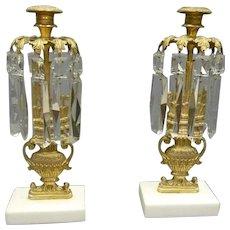 Pair Girandoles, Candlesticks with Prisms