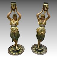 Pair of Metal Greek, Classical Candlesticks