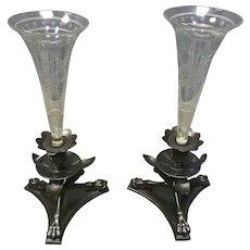 Pair of Bronzed & Cut Glass Girandoles, Vases