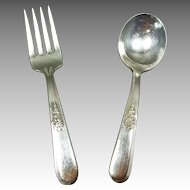 Child's Fork & Spoon Silver Plate Set
