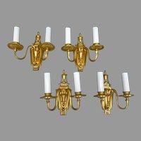 Set of 4 Bronze Sconces