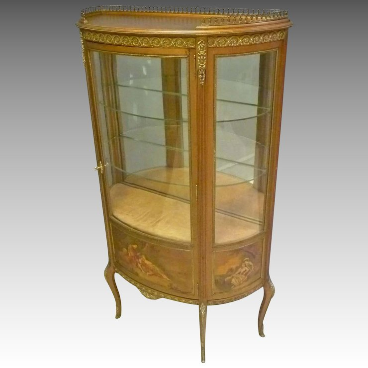 French Style Hand Painted Gold Vitrine Curio Cabinet Antiques On
