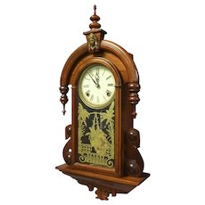 Victorian Walnut Wall Hanging Clock