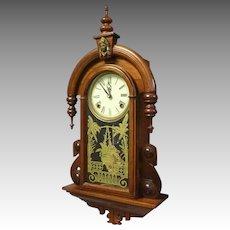 Victorian Walnut Wall Hanging Clock