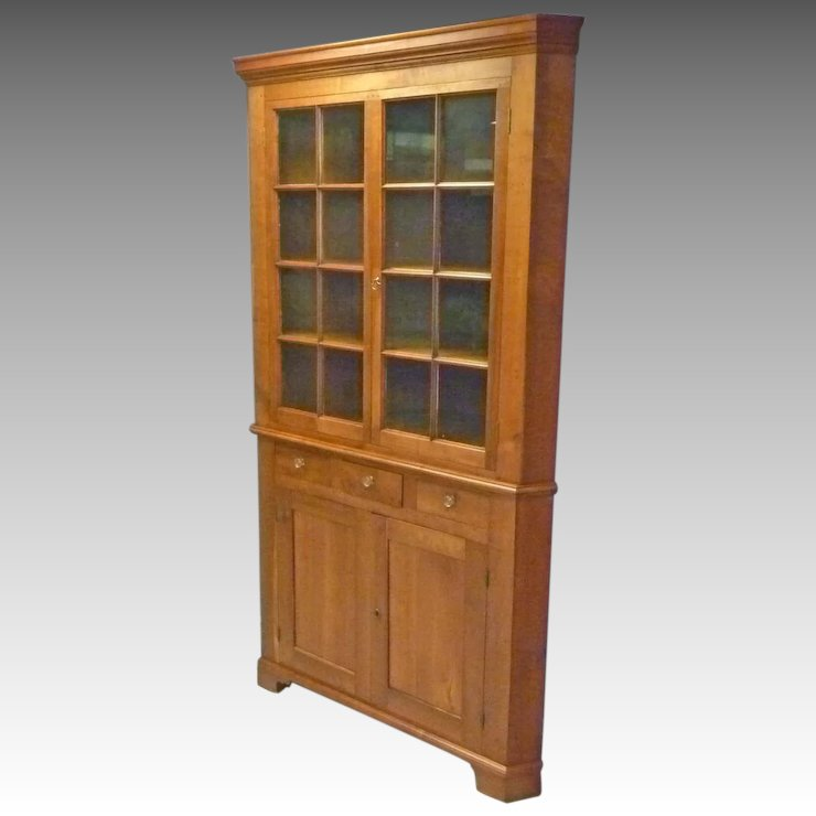 Pennsylvania Cherry Corner Cupboard, Cabinet - Pennsylvania Cherry Corner Cupboard, Cabinet : Antiques On Hanover