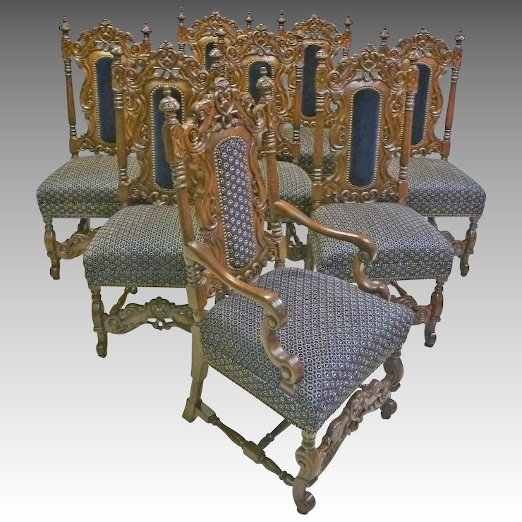 Set of 8 Jacobean, Victorian Style Dining Chairs - Set Of 8 Jacobean, Victorian Style Dining Chairs : Antiques On