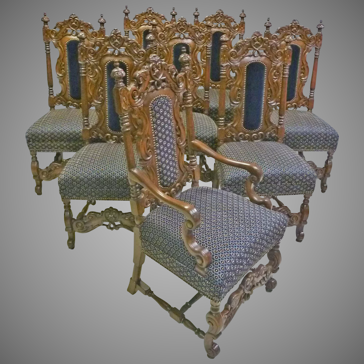 Set Of 8 Jacobean Victorian Style Dining Chairs