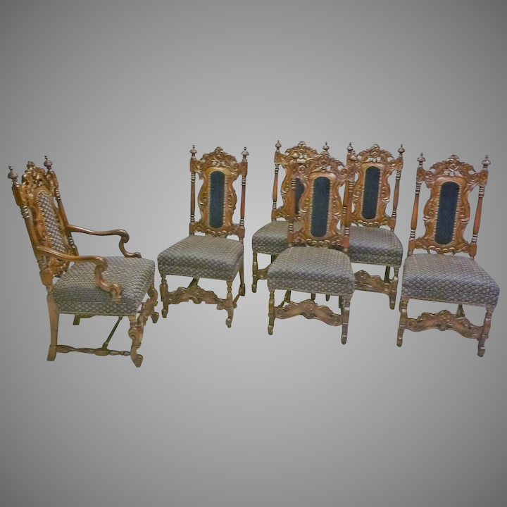 Stupendous Set Of 6 Jacobean Victorian Style Dining Chairs Bralicious Painted Fabric Chair Ideas Braliciousco