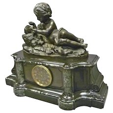 Large French Marble Clock with Bronze Figure