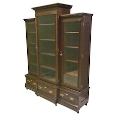 Victorian Walnut Triple Door Bookcase