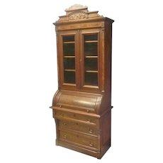 Narrow Victorian Cylinder Roll Secretary Desk
