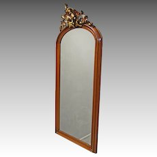 Walnut Victorian Hall Mirror with Fruit Carvings