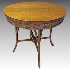 Oak & Wicker Round Table