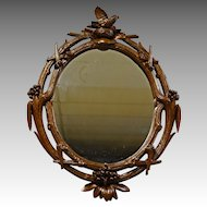 Mirror with Twig Carved Frame & Bird's Nest