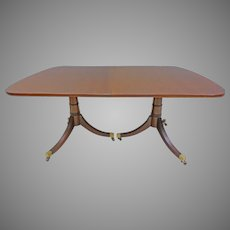 Rectangular Pedestal Dining Table, Duncan Phyfe Style
