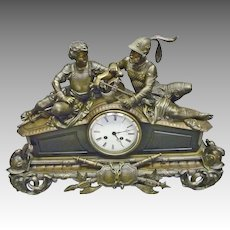 Bronze French Mantle Clock with Warriors