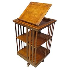 Oak Revolving Bookcase with Book Holder