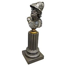 Bronze Bust of Hercules on Slate Pedestal