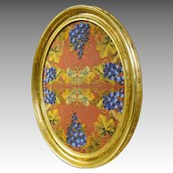 Victorian Gold Frame with Beads and Needlepoint Grapes