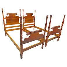 Pair Walnut Twin Poster Beds