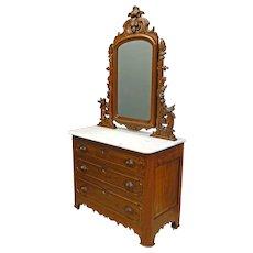 Marble Top Victorian Dresser with Birds
