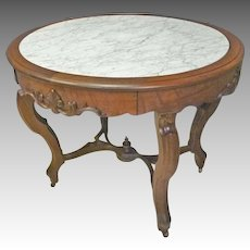 Oval Marble Top TableTop Desk or Table with Drawer