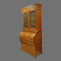 Large Victorian Cylinder Roll Secretary, Bookcase