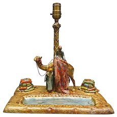 Austrian Desk Lamp with Inkwells and Rug Merchant
