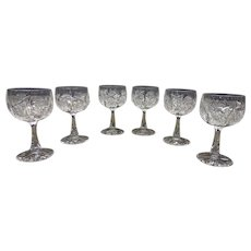 Set of 6 Cut Glass Wine Goblets