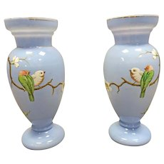 Pair of Victorian Glass Bird Vases