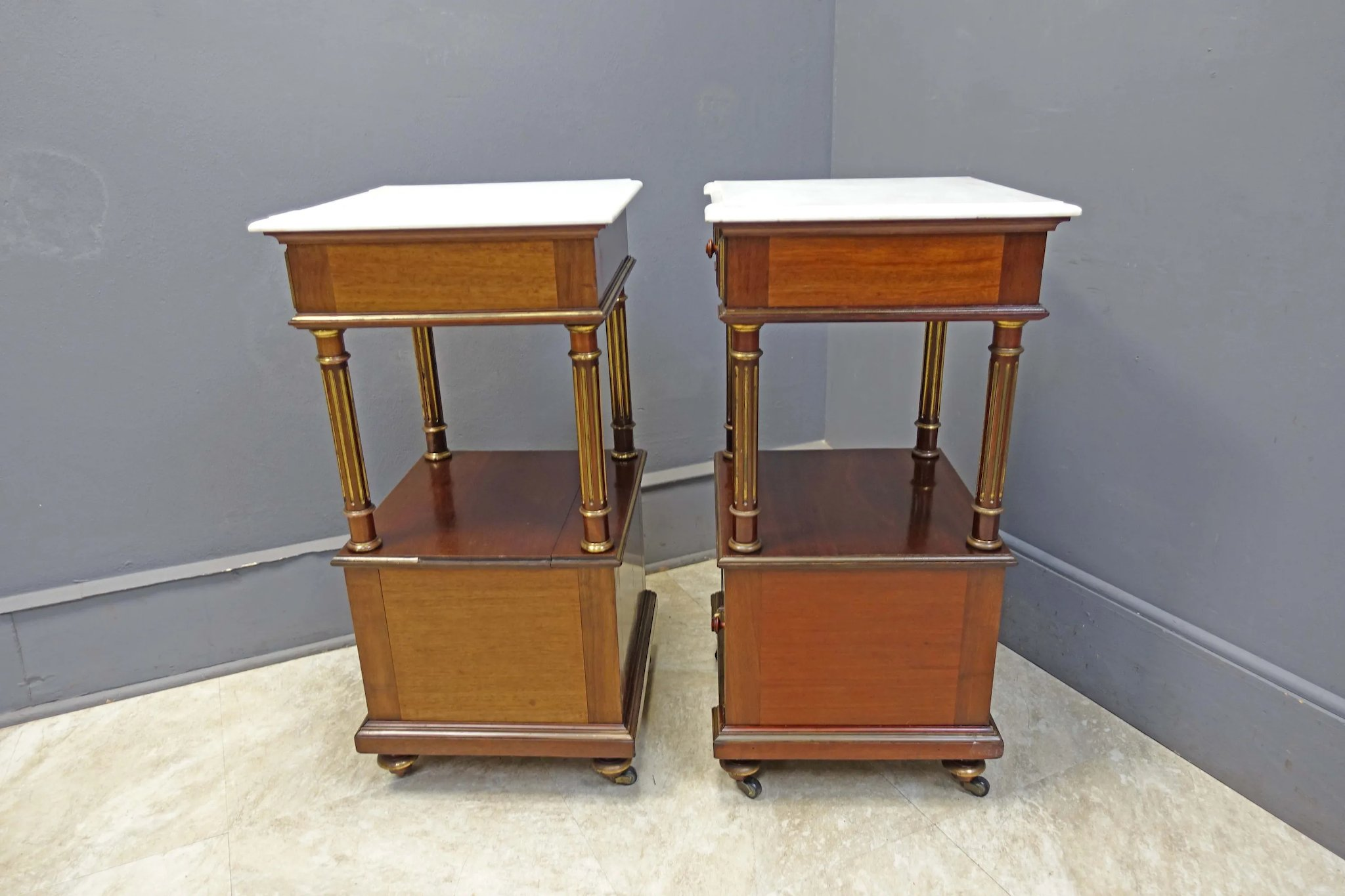 Pair Marble Top End Tables Night Stands Antiques On