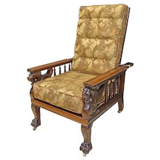 Mahogany Morris Chair with Gryphons, Griffons