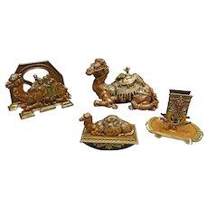 4 Piece Camel Inkwell Desk Set