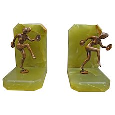 Pair Green Onyx Art Deco Bookends