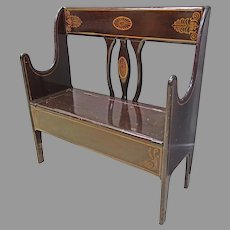 Country Painted Bench with Lift Seat