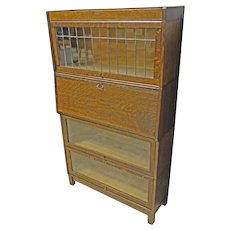 Stacking Barrister Bookcase with Desk & Leaded Glass