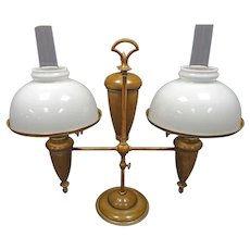 Double Brass Student Oil Lamp by Bradley & Hubbard