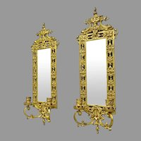 Pair of Brass Candle Sconces with Beveled Mirrors, Dolphin Design