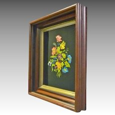 Walnut Victorian Frame with Foil Flowers