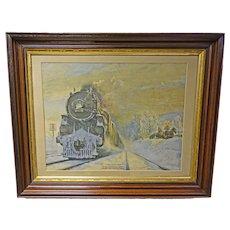 Print of Steam Locomotive Train in Victorian Frame