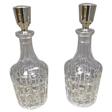 Cut Crystal Glass Decanter with Sterling Stoppers by Hawkes