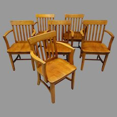 Set of 6 Maple Armchairs for Office or Dining Room