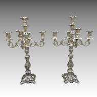 18th Century Reposse Silver Candlabras, Candlabrum, Candelabras