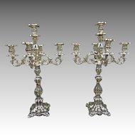 18th Century Repousse Silver Candlabras, Candlabrum, Candelabras