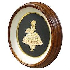 Deep Walnut Oval Frame with Ribbon Art