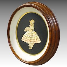 Deep Walnut Oval Frame with Ribbon Art