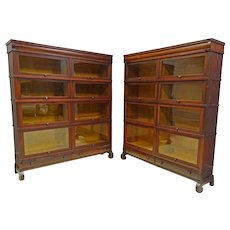 Pair Barrister Sectional Bookcases by Globe Wernicke