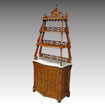 Victorian Marble Top Etegere Display Bookcase