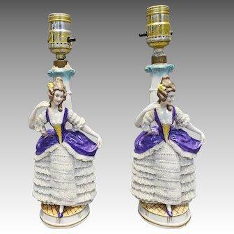 Pair German Porcelain Lamps