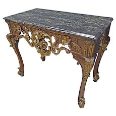 Black Marble Top Hall Table